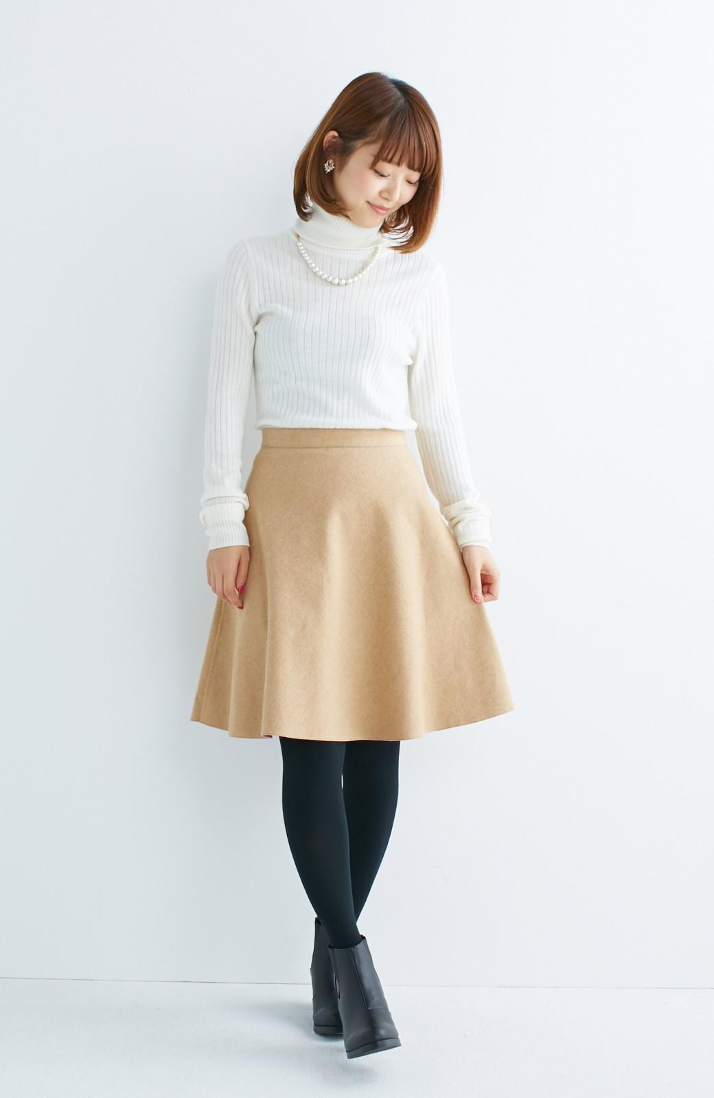 エムトロワ 【mer1月号掲載】きれい色もあったかも楽しめるリバーシブルフレアースカート <ベージュ>の商品写真3