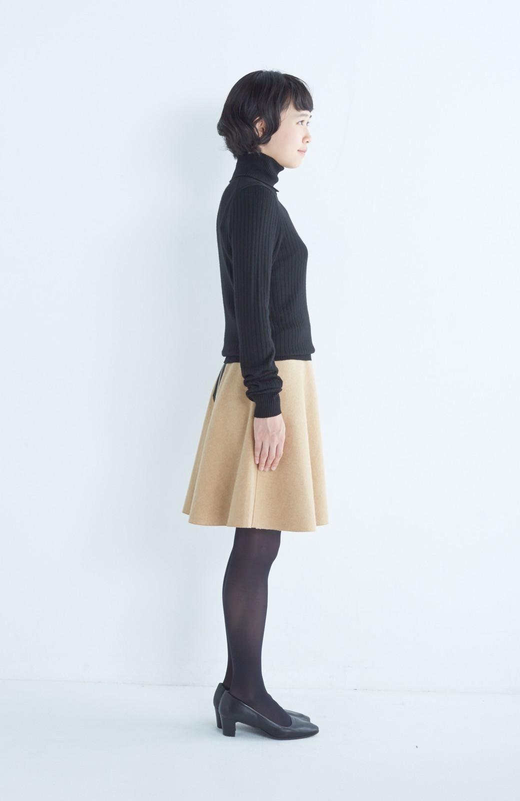 エムトロワ 【mer1月号掲載】きれい色もあったかも楽しめるリバーシブルフレアースカート <ベージュ>の商品写真12