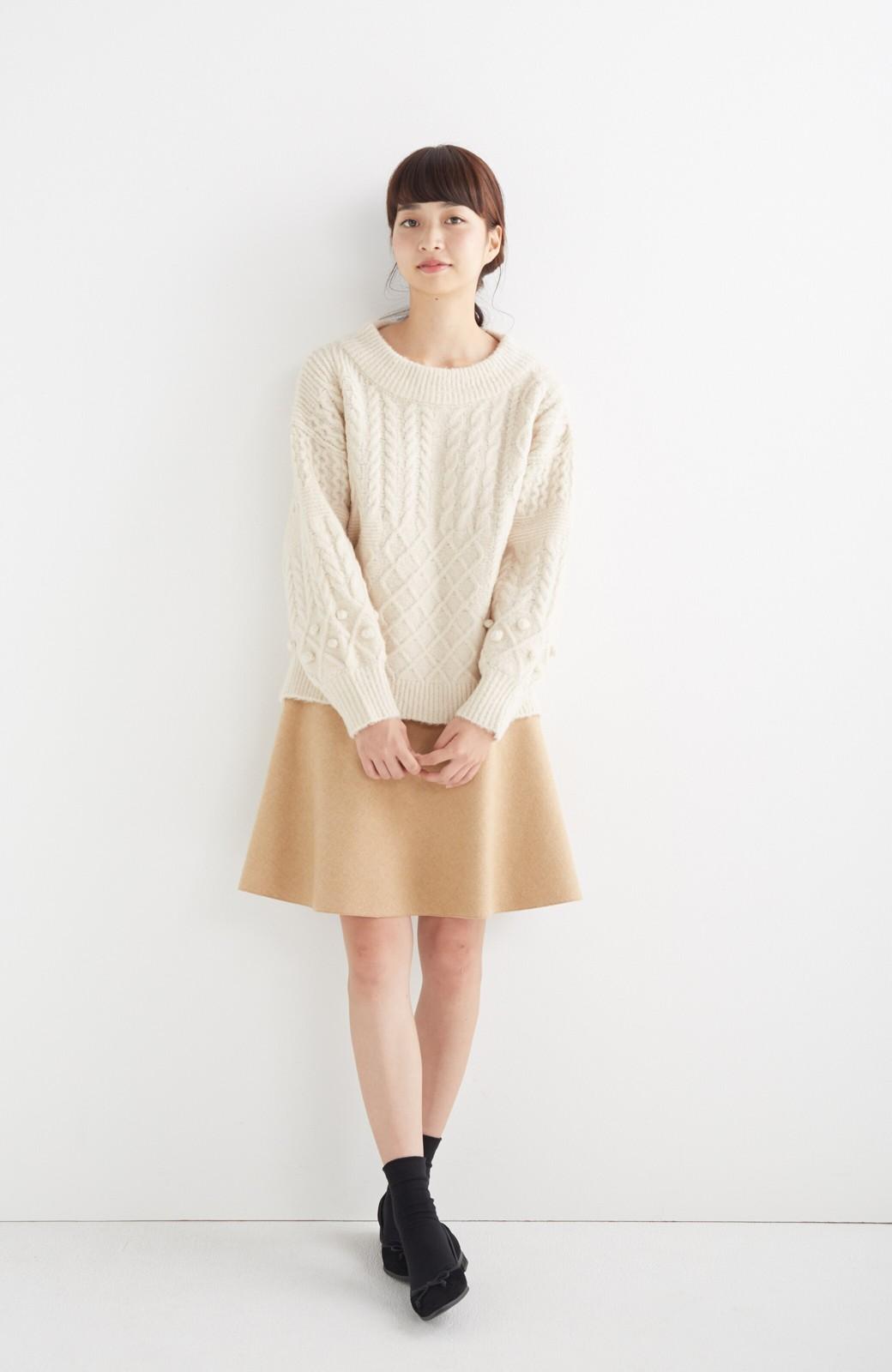 エムトロワ 【mer1月号掲載】きれい色もあったかも楽しめるリバーシブルフレアースカート <ベージュ>の商品写真5