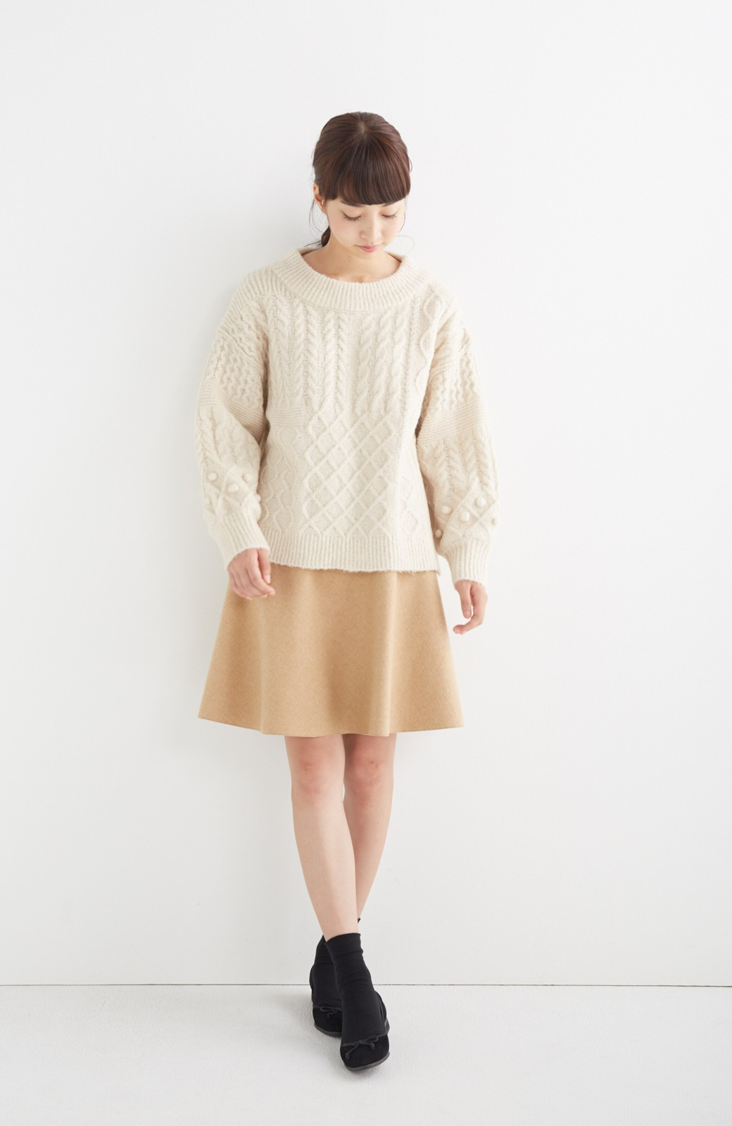 エムトロワ 【mer1月号掲載】きれい色もあったかも楽しめるリバーシブルフレアースカート <ベージュ>の商品写真6