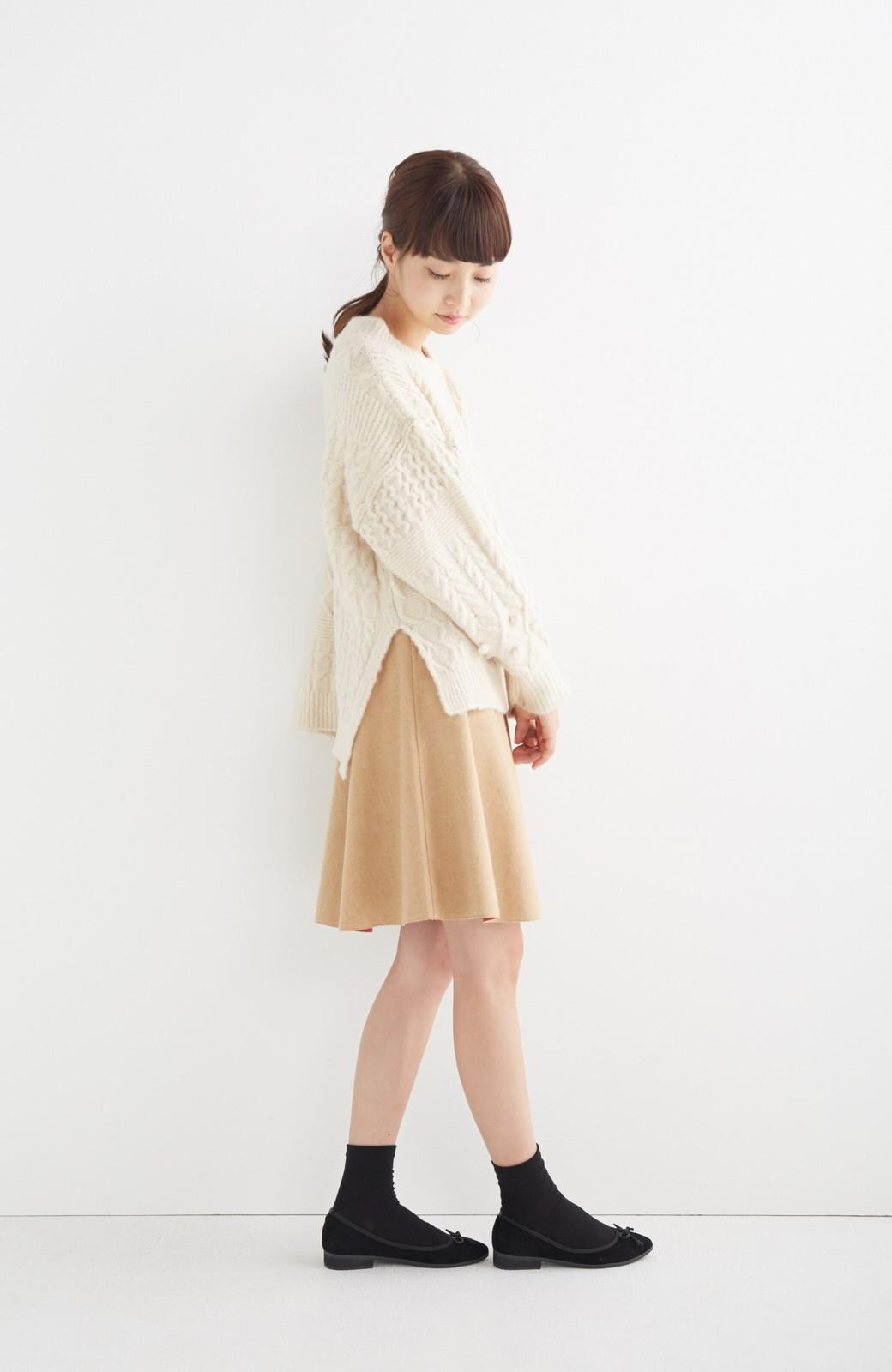 エムトロワ 【mer1月号掲載】きれい色もあったかも楽しめるリバーシブルフレアースカート <ベージュ>の商品写真24