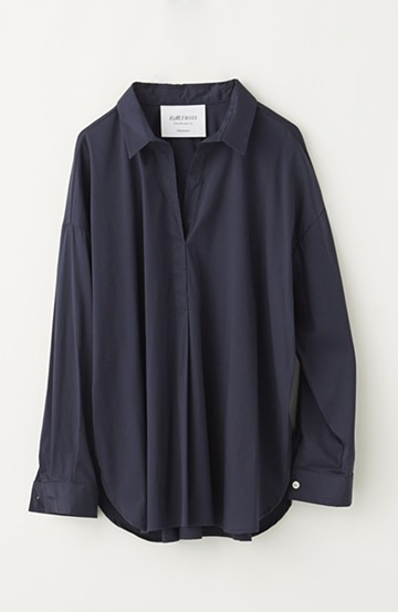 エムトロワ 着るだけでベストバランス抜き衿シャツ <ネイビー>の商品写真