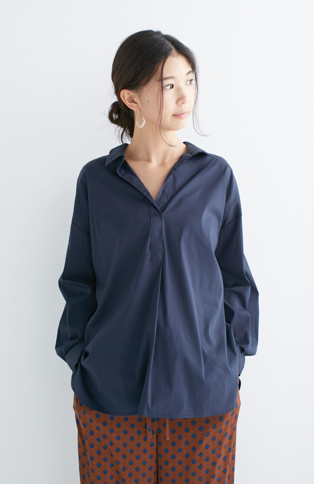 エムトロワ 着るだけでベストバランス抜き衿シャツ <ネイビー>の商品写真6
