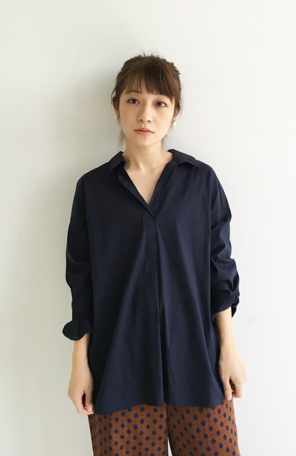 エムトロワ 着るだけでベストバランス抜き衿シャツ <ネイビー>の商品写真8
