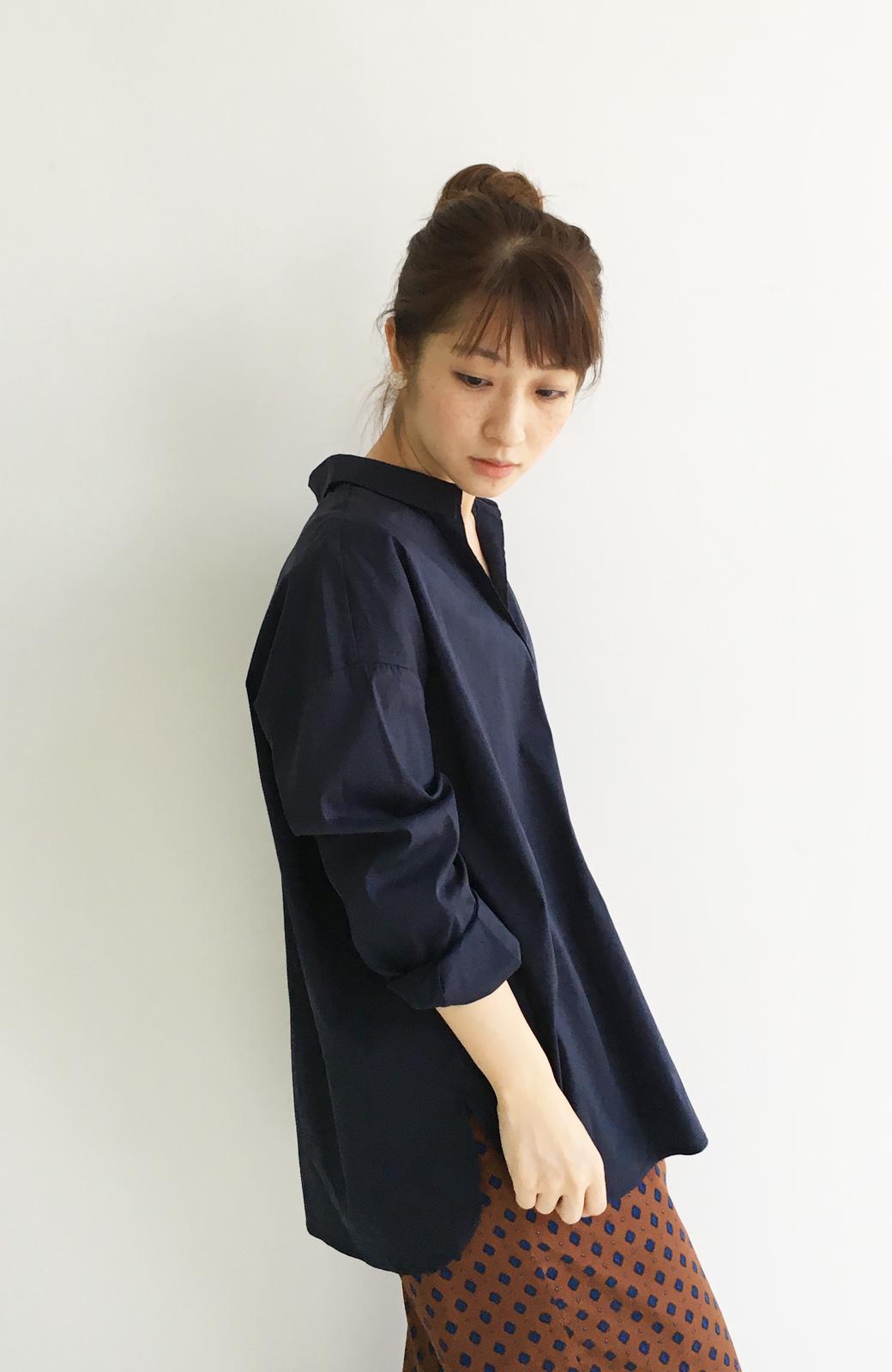 エムトロワ 着るだけでベストバランス抜き衿シャツ <ネイビー>の商品写真9