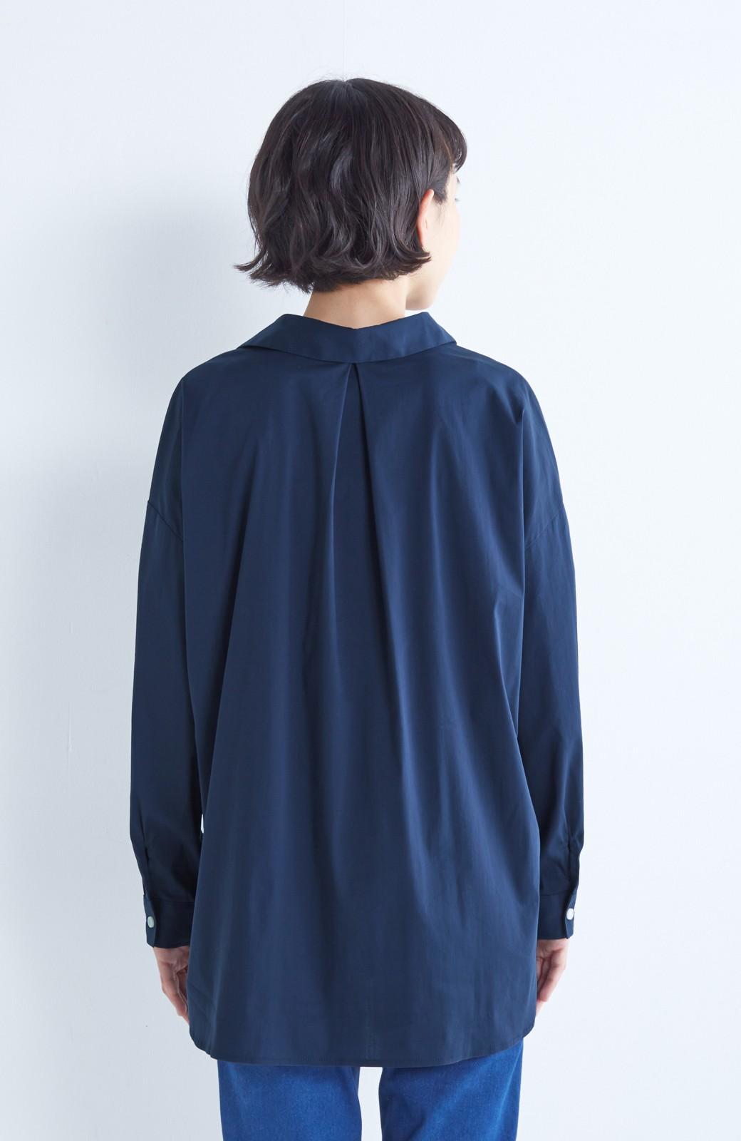 エムトロワ 着るだけでベストバランス抜き衿シャツ <ネイビー>の商品写真12
