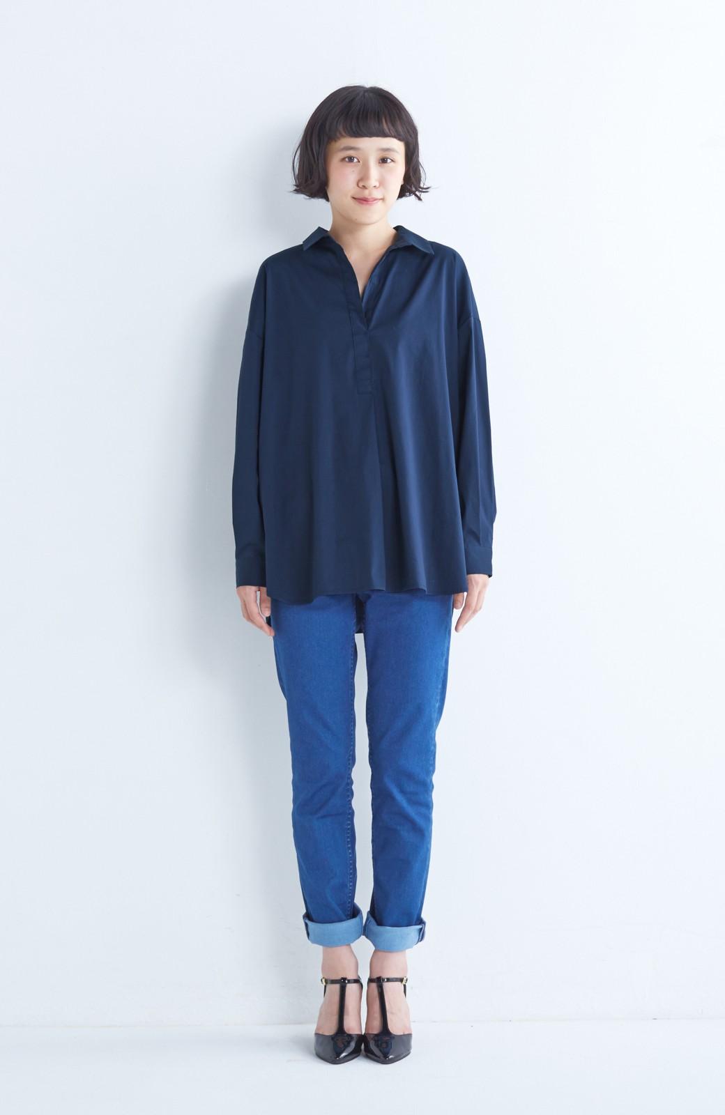 エムトロワ 着るだけでベストバランス抜き衿シャツ <ネイビー>の商品写真4