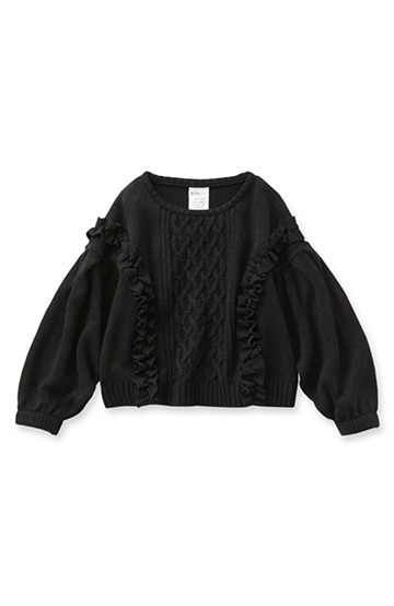 pilvee ぽんわり袖のガーリーフリルニット <ブラック>の商品写真