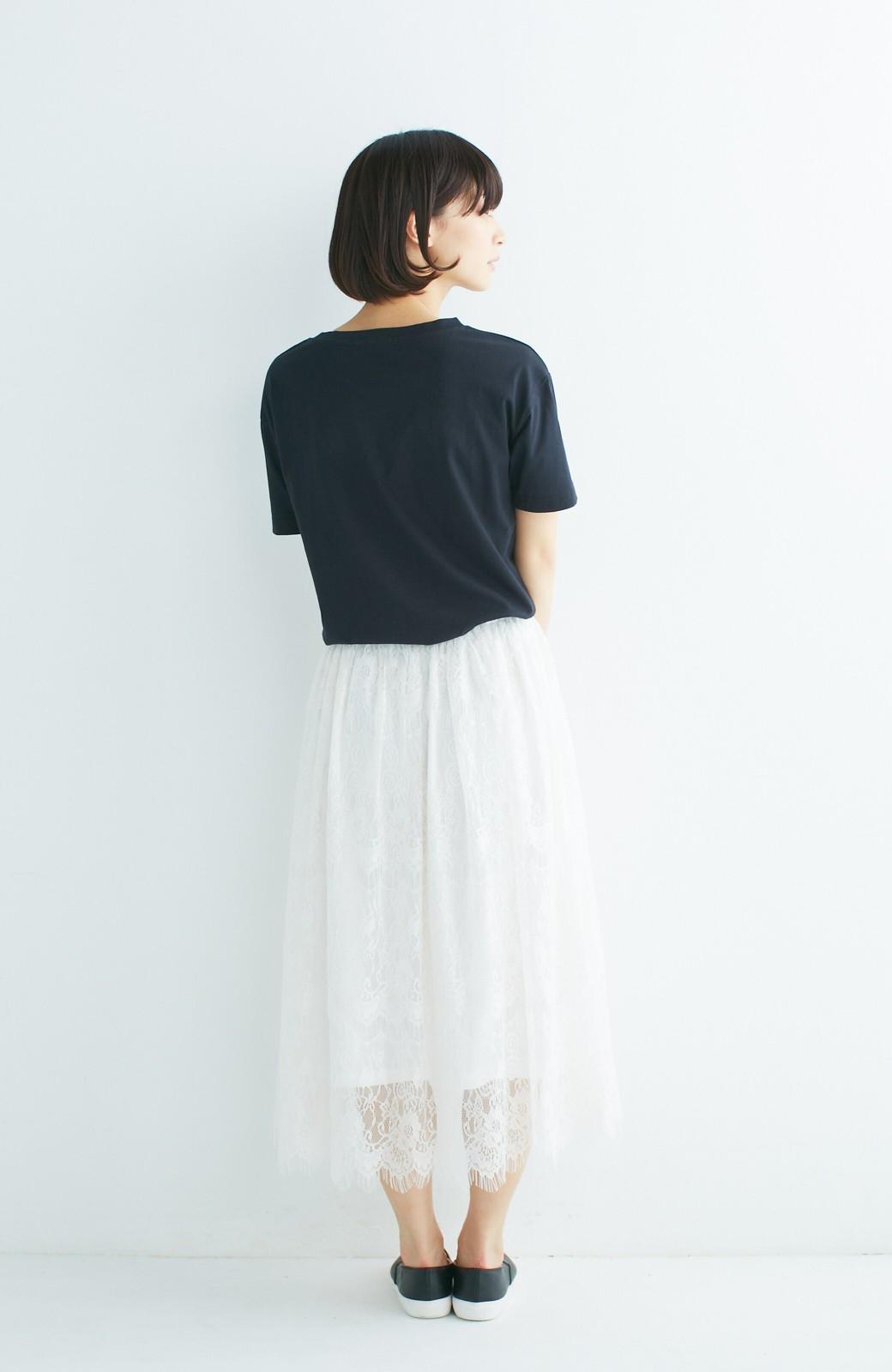 nusy 総レースのミモレ丈スカート <アイボリー>の商品写真10