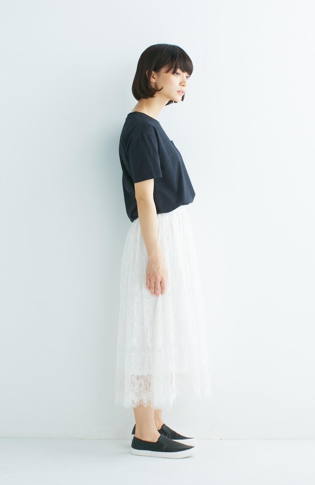 nusy 総レースのミモレ丈スカート <アイボリー>の商品写真9