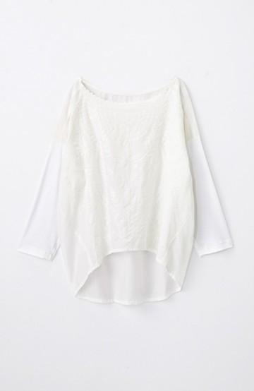 エムトロワ こう見えて動きやすい、袖だけカットソーの華やか刺しゅうブラウス <ホワイト>の商品写真
