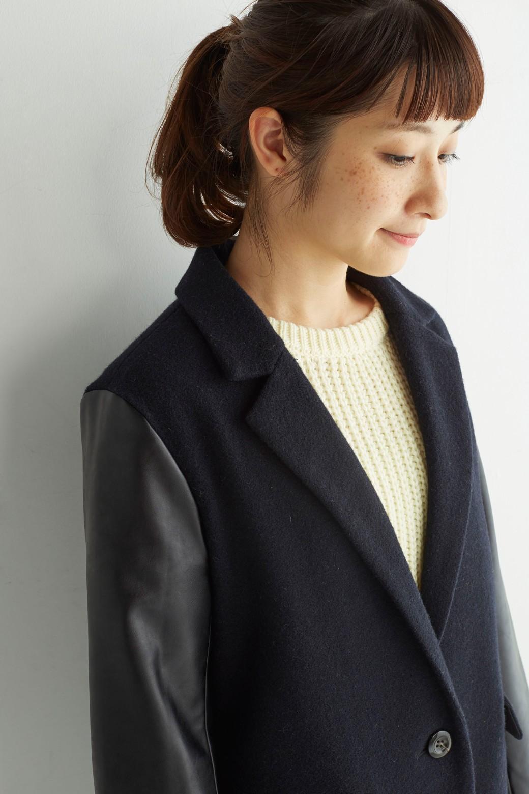 SHE THROUGH SEA ウール素材とフェイクレザー切り替えチェスターコート:ネイビー×ブラック <ネイビー>の商品写真8