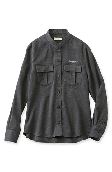 nusy 刺しゅうロゴ入りワークシャツ <チャコールグレー>の商品写真