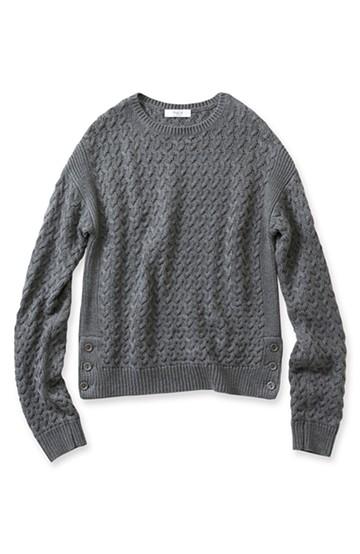 ロジーズ ショート丈の柄編みニット <杢グレー>の商品写真