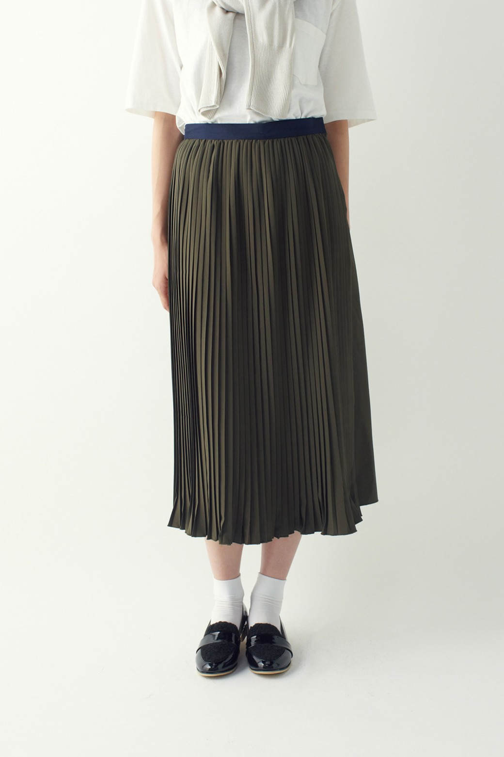 ロジーズ 配色プリーツロングスカート <カーキ>の商品写真12