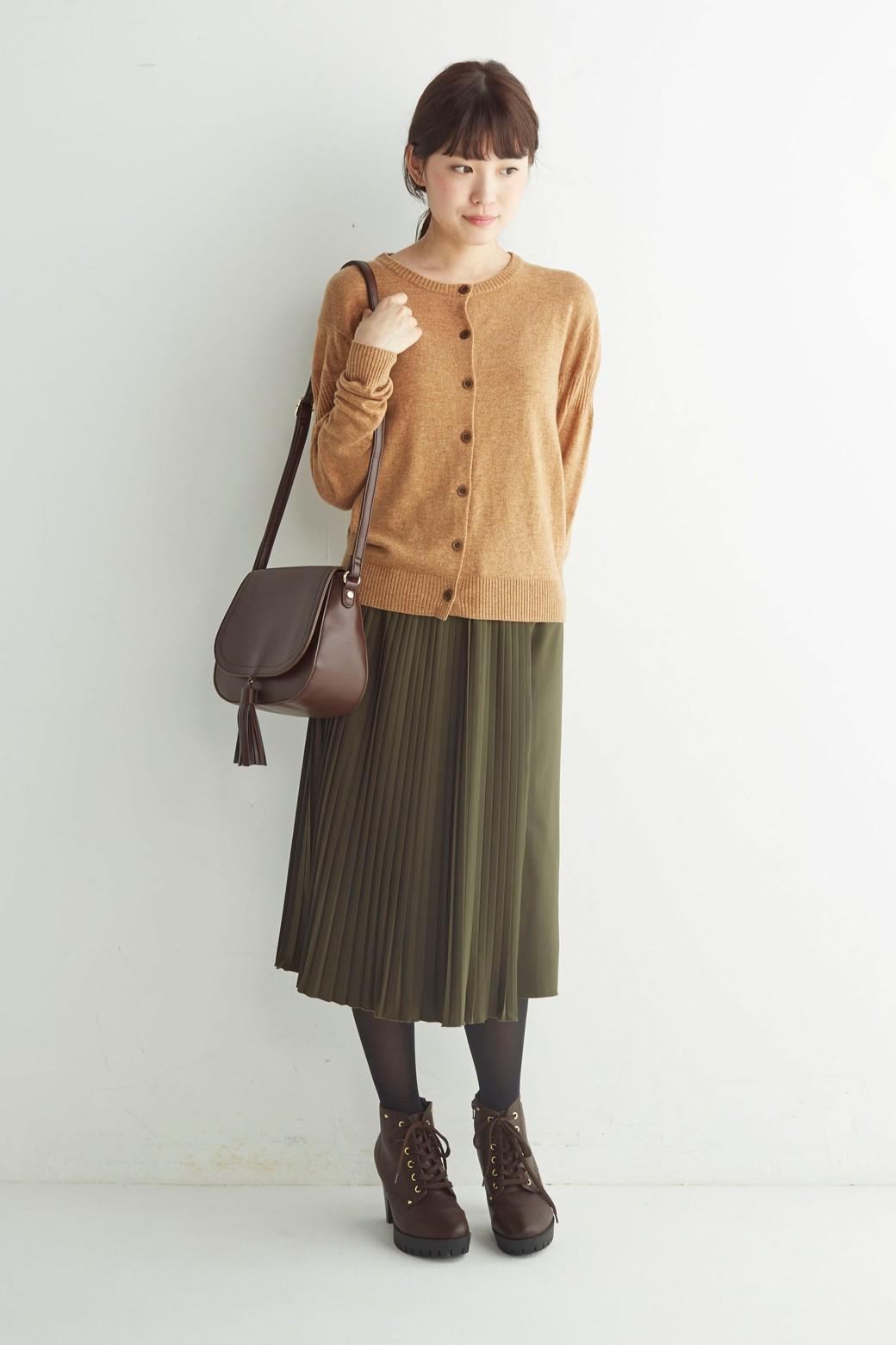 ロジーズ 配色プリーツロングスカート <カーキ>の商品写真7