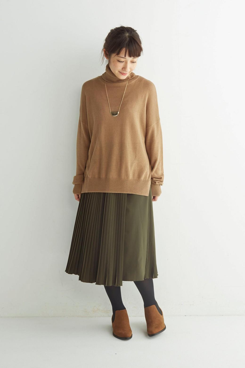 ロジーズ 配色プリーツロングスカート <カーキ>の商品写真8
