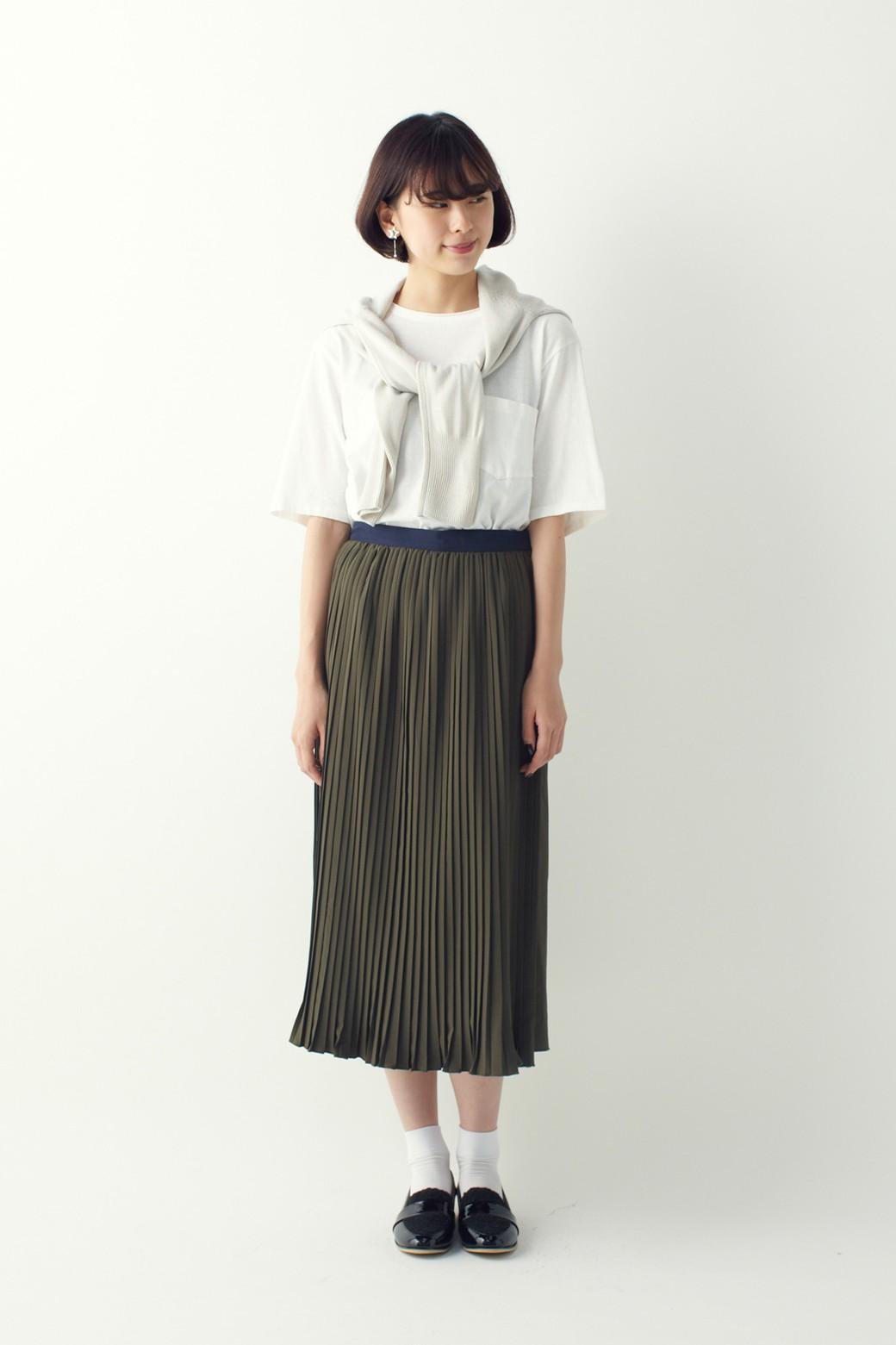 ロジーズ 配色プリーツロングスカート <カーキ>の商品写真9