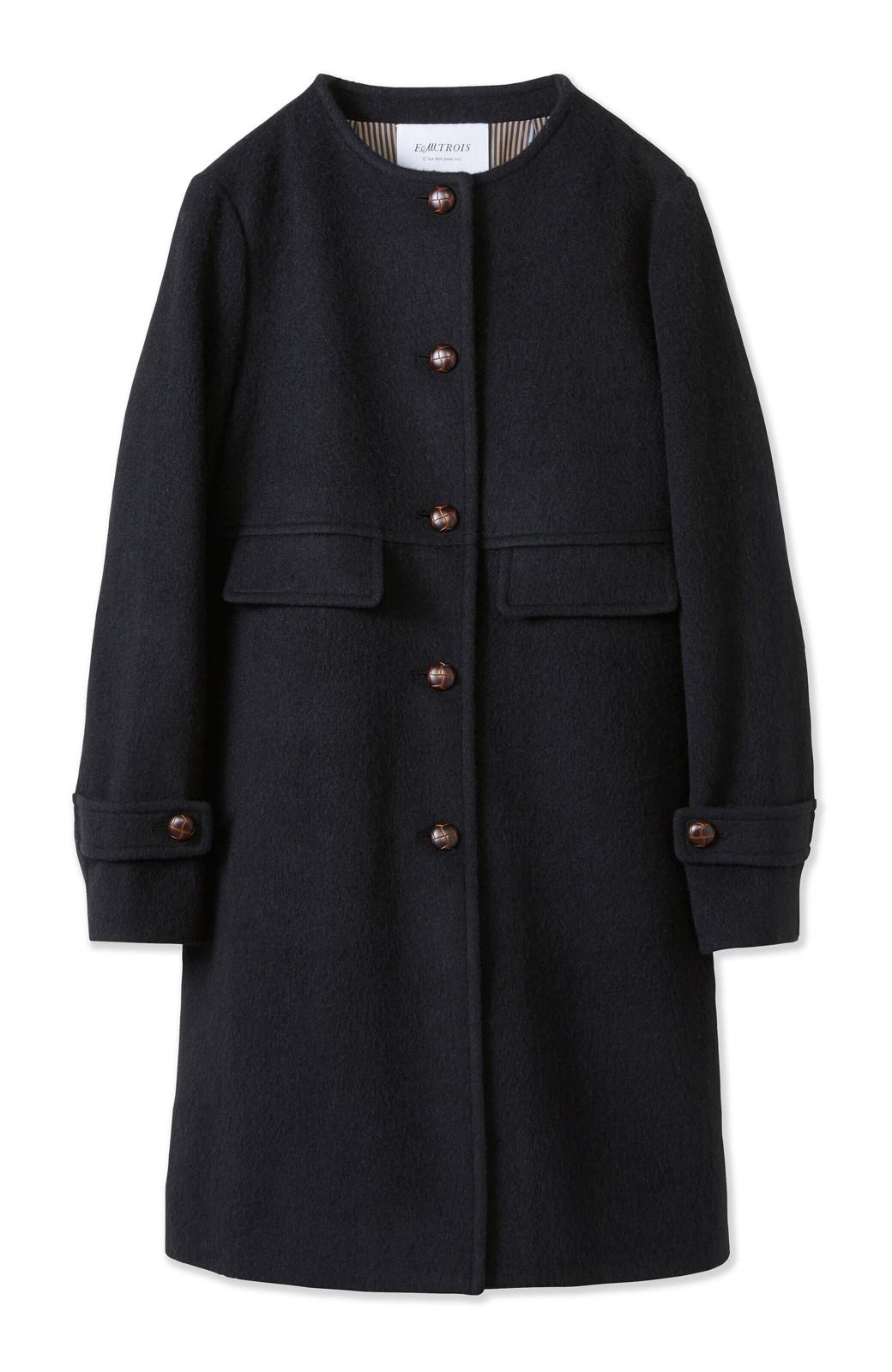エムトロワ MADE IN JAPAN生地を使用したノーカラーコート <ブラック>の商品写真2