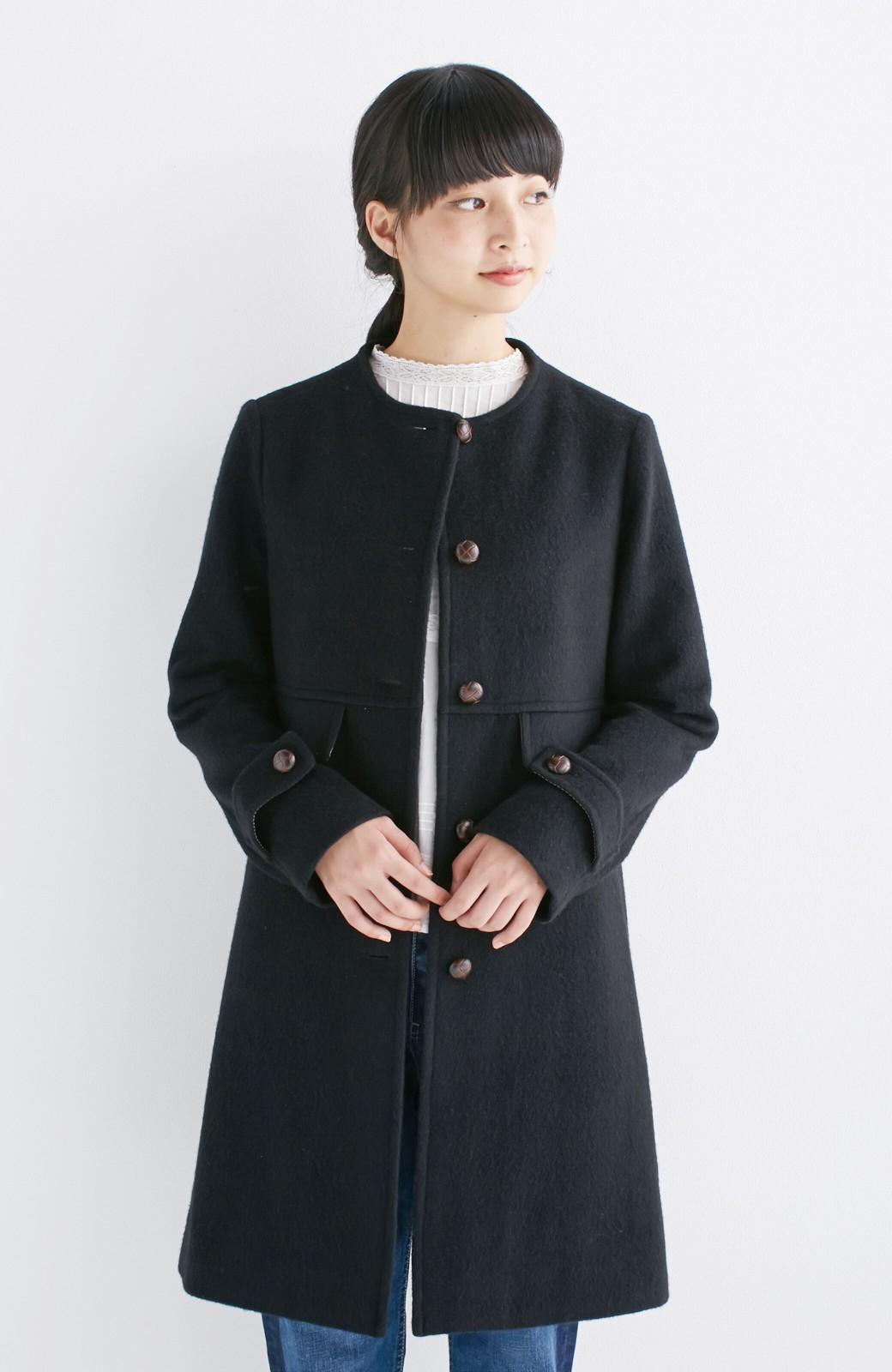 エムトロワ MADE IN JAPAN生地を使用したノーカラーコート <ブラック>の商品写真1