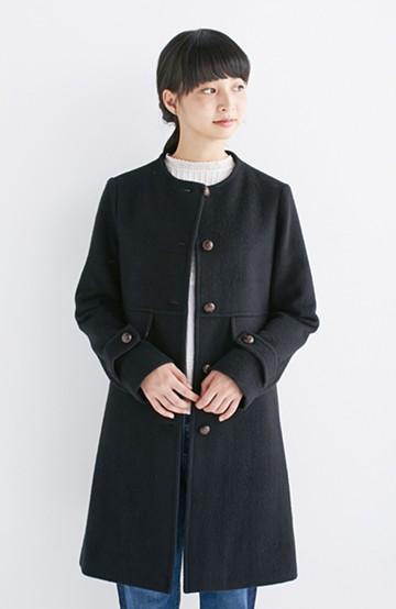 エムトロワ MADE IN JAPAN生地を使用したノーカラーコート <ブラック>の商品写真