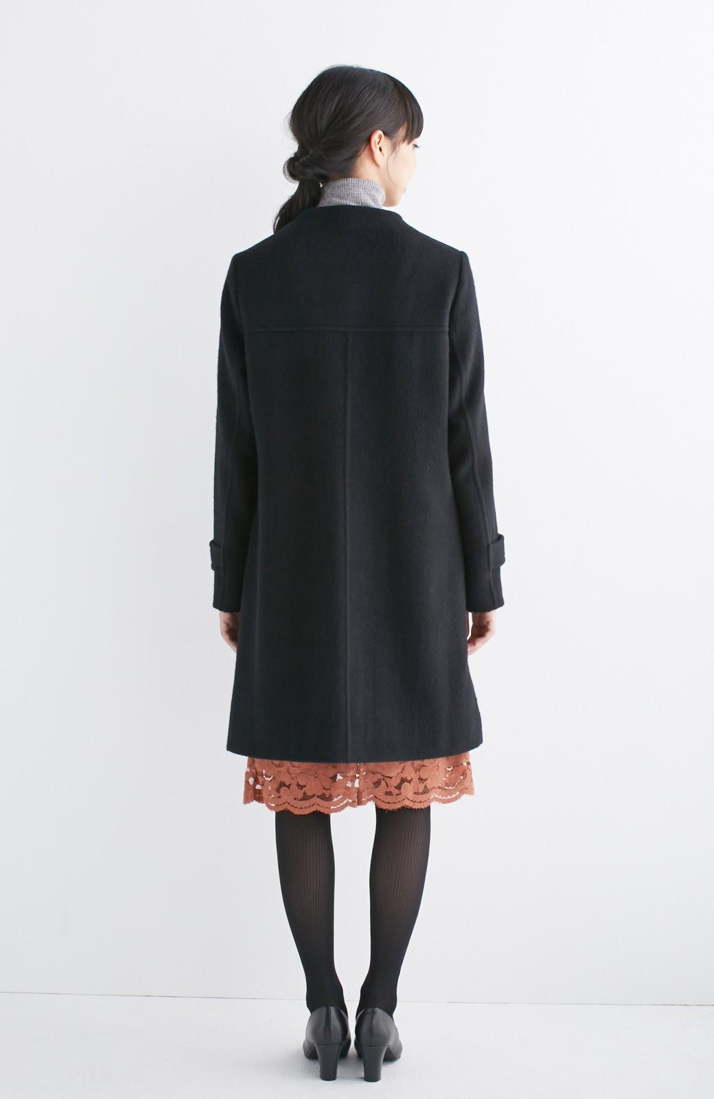 エムトロワ MADE IN JAPAN生地を使用したノーカラーコート <ブラック>の商品写真10