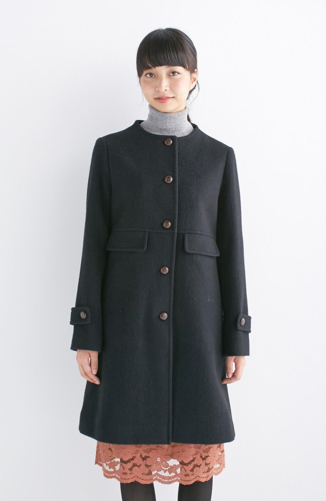 エムトロワ MADE IN JAPAN生地を使用したノーカラーコート <ブラック>の商品写真11