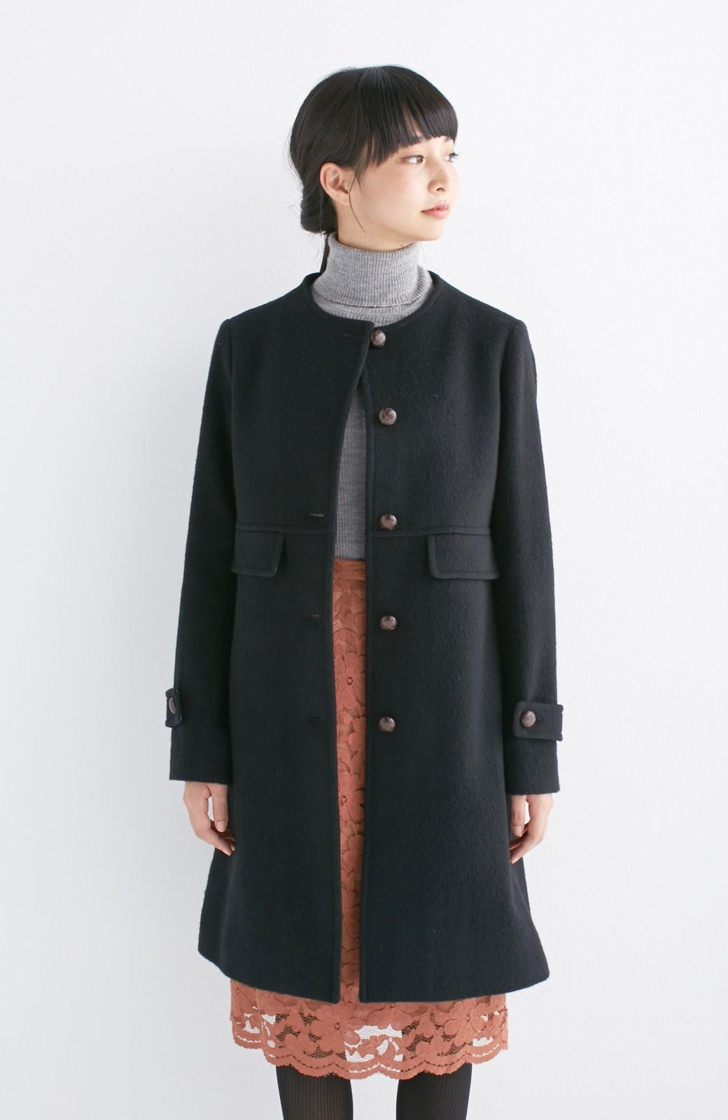 エムトロワ MADE IN JAPAN生地を使用したノーカラーコート <ブラック>の商品写真12