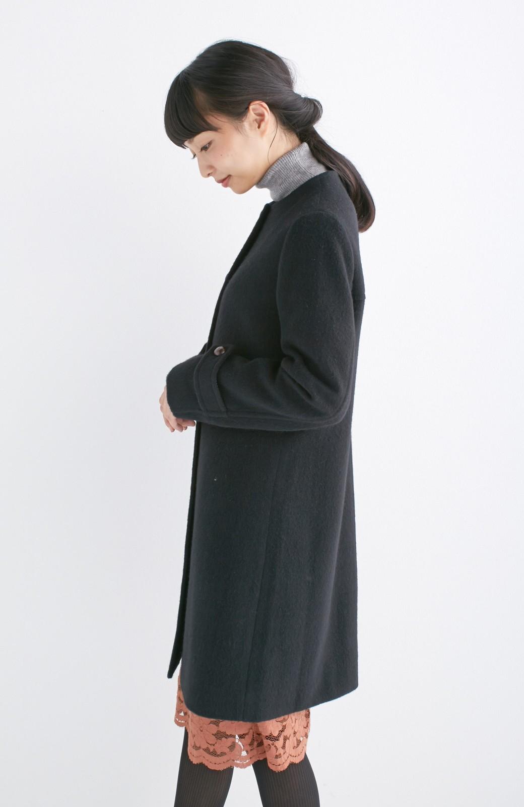エムトロワ MADE IN JAPAN生地を使用したノーカラーコート <ブラック>の商品写真13
