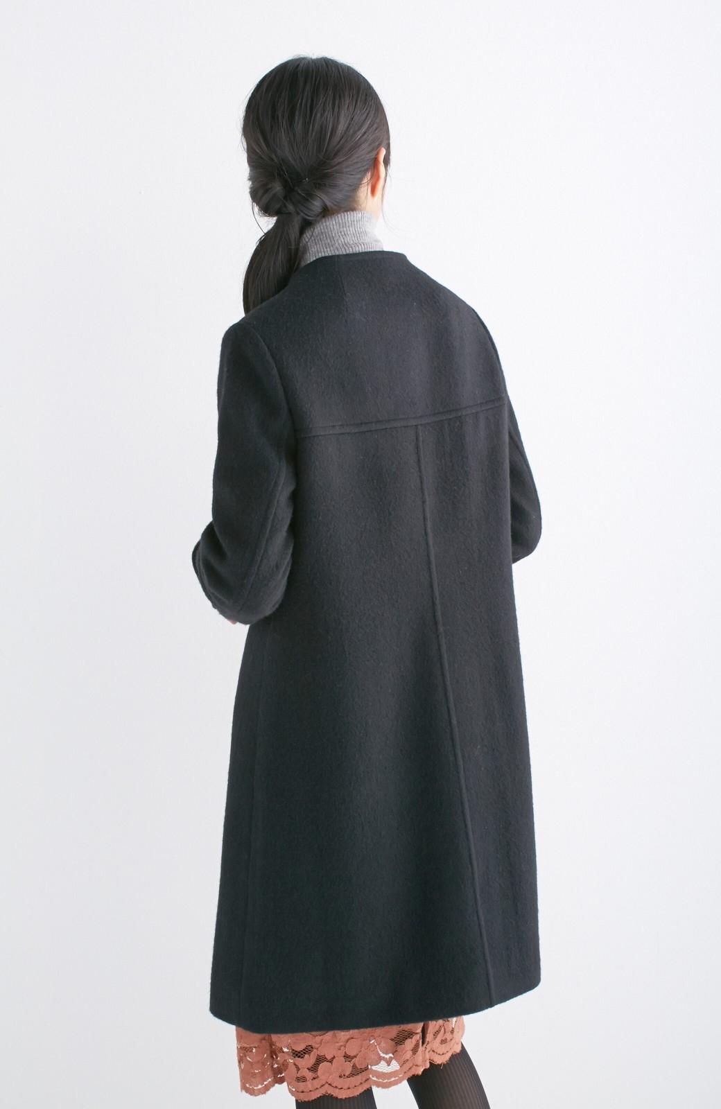 エムトロワ MADE IN JAPAN生地を使用したノーカラーコート <ブラック>の商品写真14