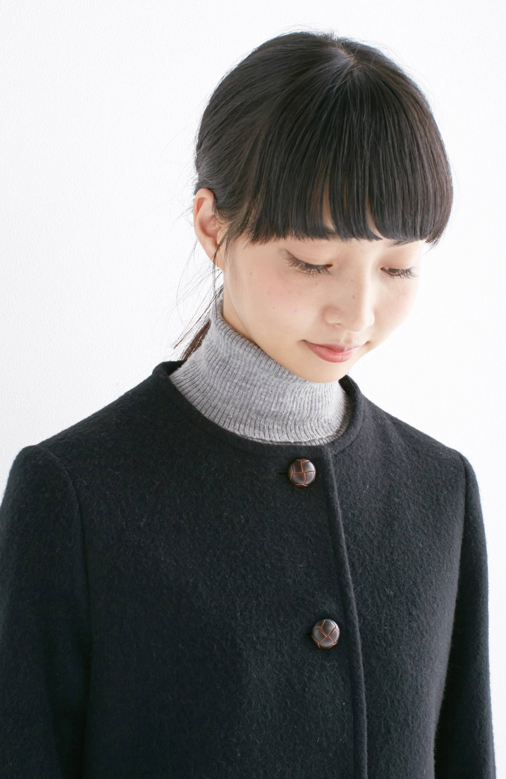 エムトロワ MADE IN JAPAN生地を使用したノーカラーコート <ブラック>の商品写真16