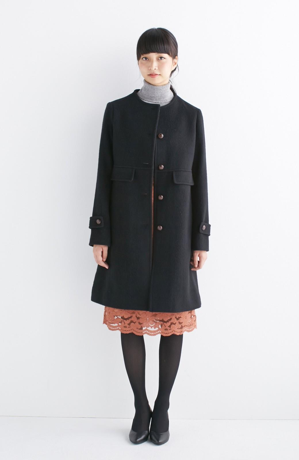 エムトロワ MADE IN JAPAN生地を使用したノーカラーコート <ブラック>の商品写真4
