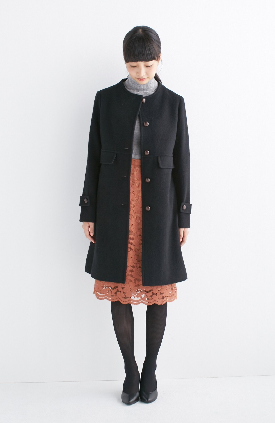 エムトロワ MADE IN JAPAN生地を使用したノーカラーコート <ブラック>の商品写真5