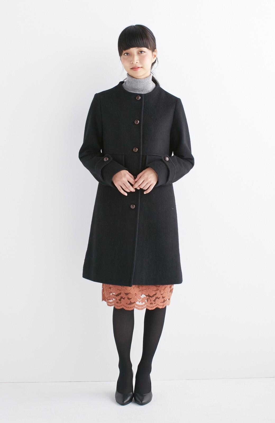 エムトロワ MADE IN JAPAN生地を使用したノーカラーコート <ブラック>の商品写真6