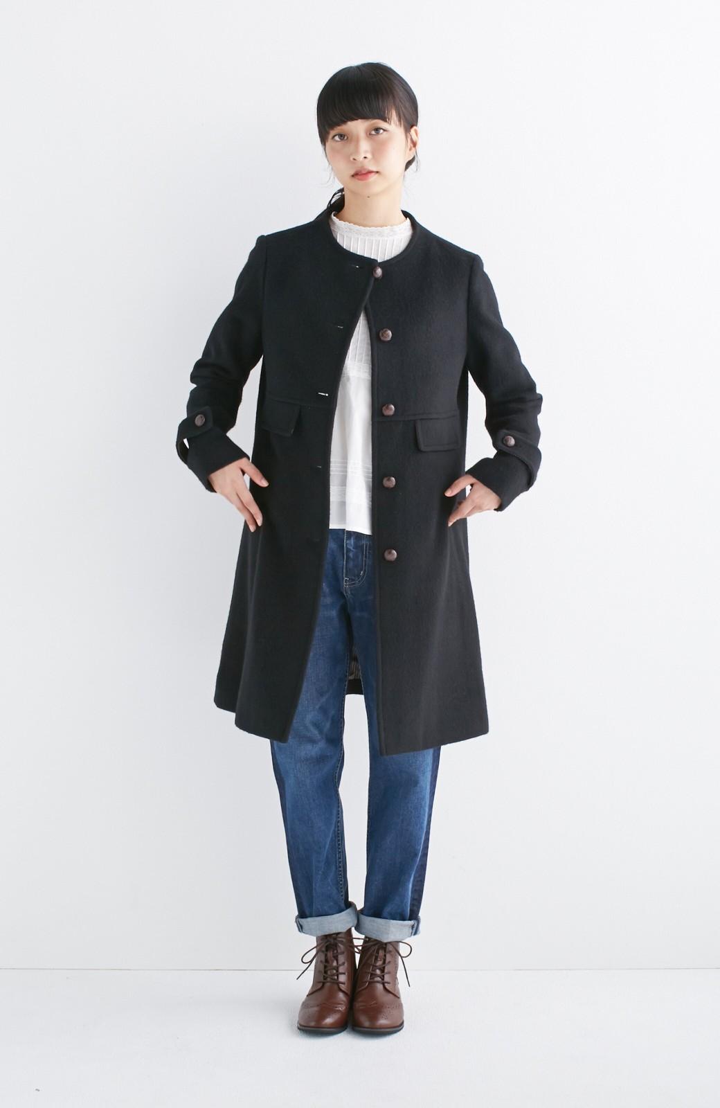 エムトロワ MADE IN JAPAN生地を使用したノーカラーコート <ブラック>の商品写真7