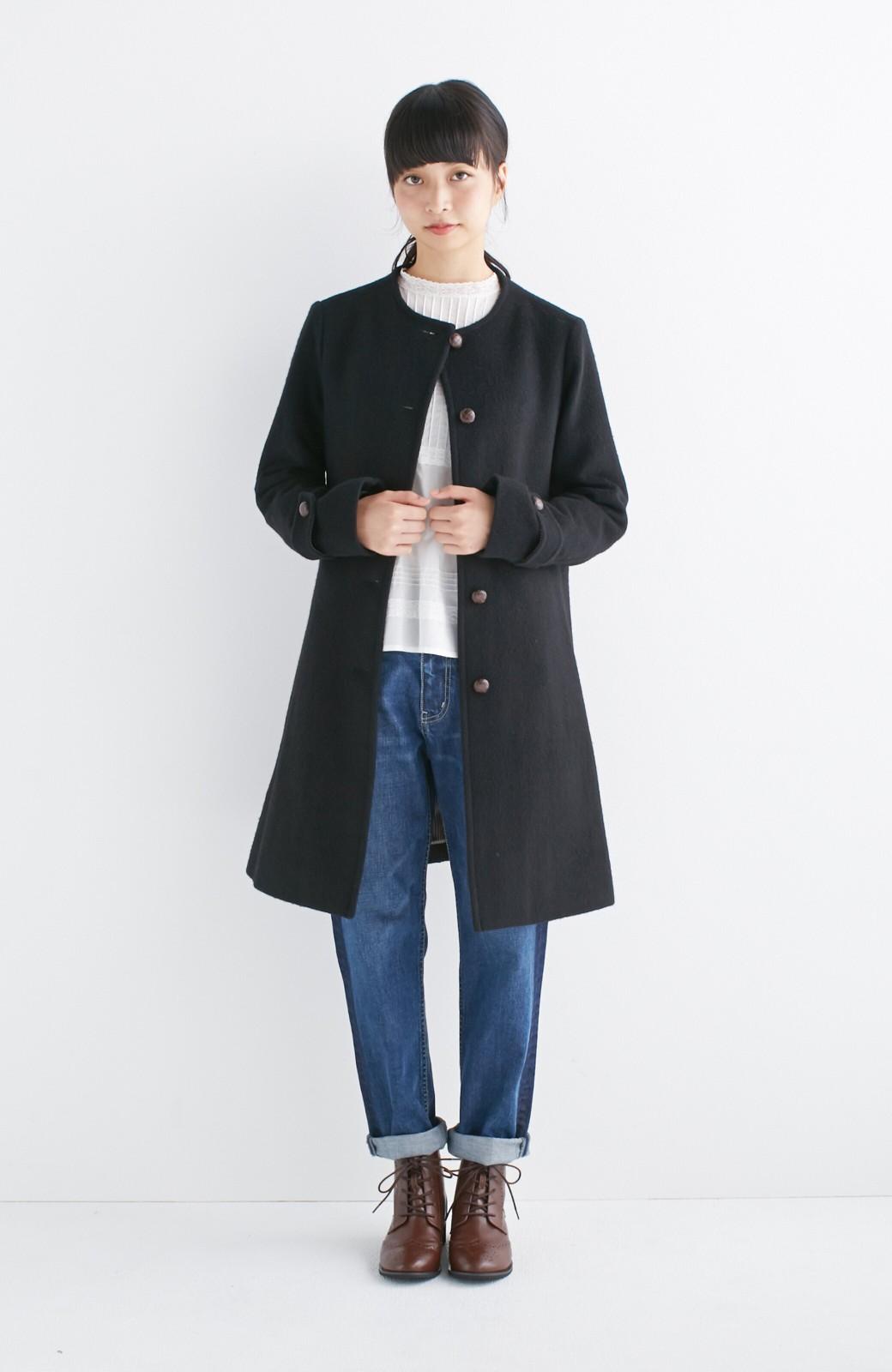 エムトロワ MADE IN JAPAN生地を使用したノーカラーコート <ブラック>の商品写真8