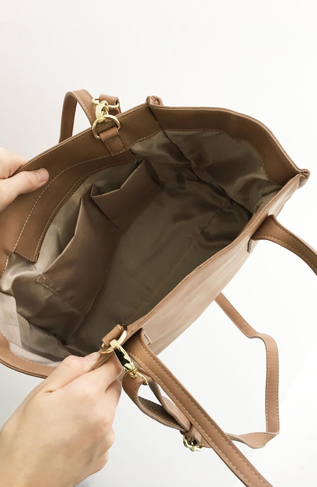 エムトロワ 編み込みデザインがかわいいフェミニントートバッグ <ベージュ>の商品写真4