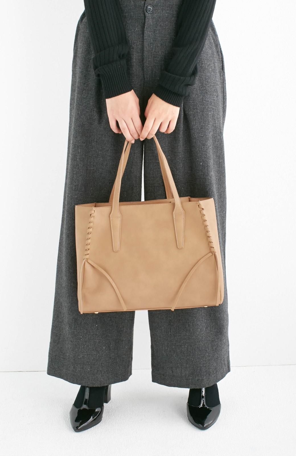 エムトロワ 編み込みデザインがかわいいフェミニントートバッグ <ベージュ>の商品写真9