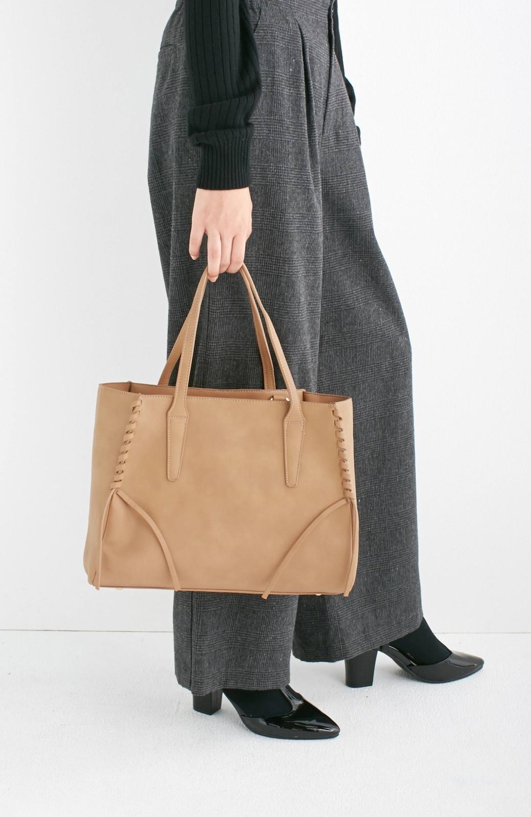 エムトロワ 編み込みデザインがかわいいフェミニントートバッグ <ベージュ>の商品写真10