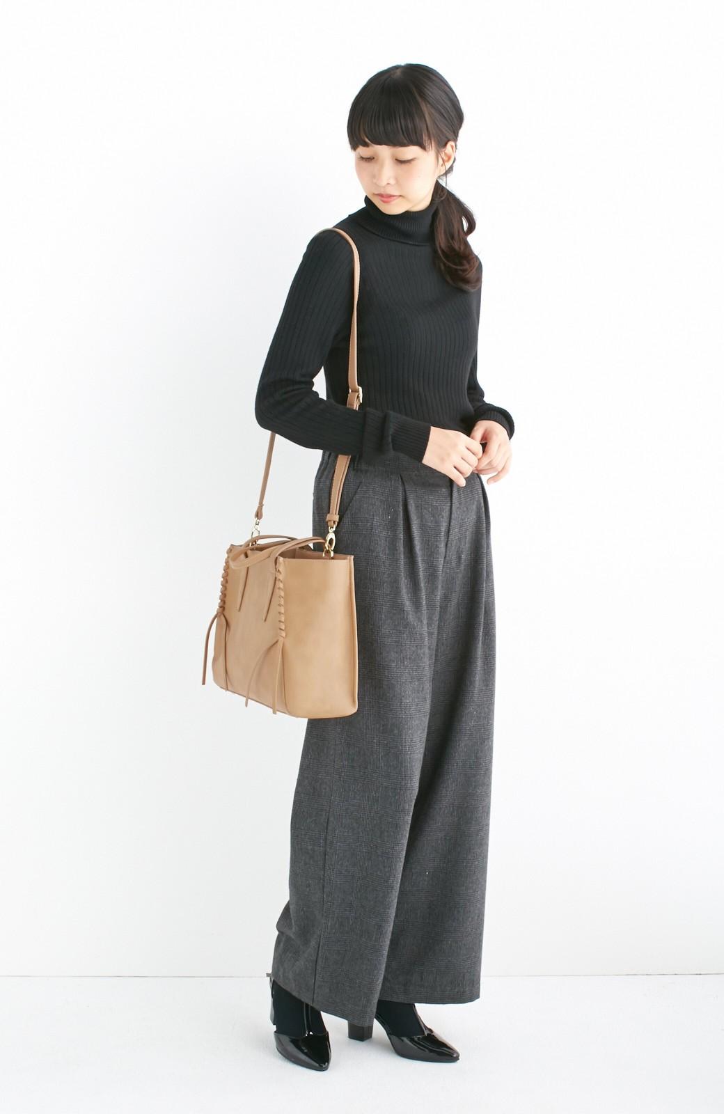 エムトロワ 編み込みデザインがかわいいフェミニントートバッグ <ベージュ>の商品写真5