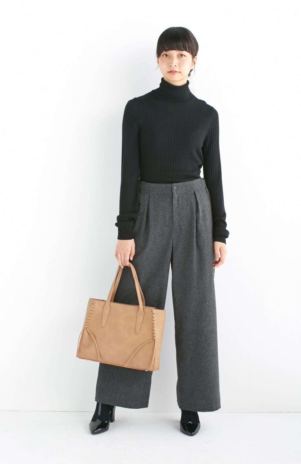 エムトロワ 編み込みデザインがかわいいフェミニントートバッグ <ベージュ>の商品写真6
