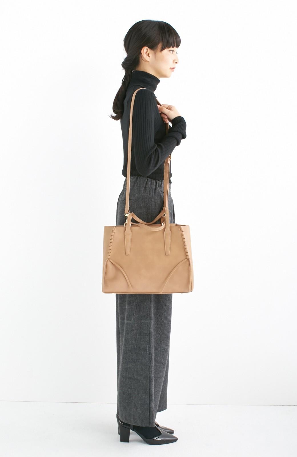 エムトロワ 編み込みデザインがかわいいフェミニントートバッグ <ベージュ>の商品写真7