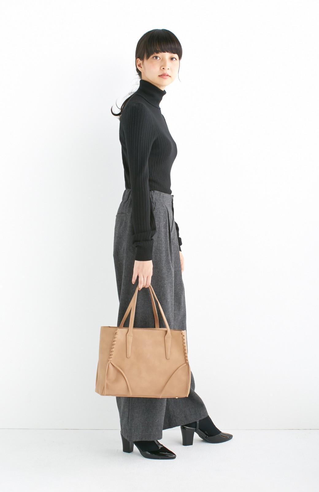 エムトロワ 編み込みデザインがかわいいフェミニントートバッグ <ベージュ>の商品写真8