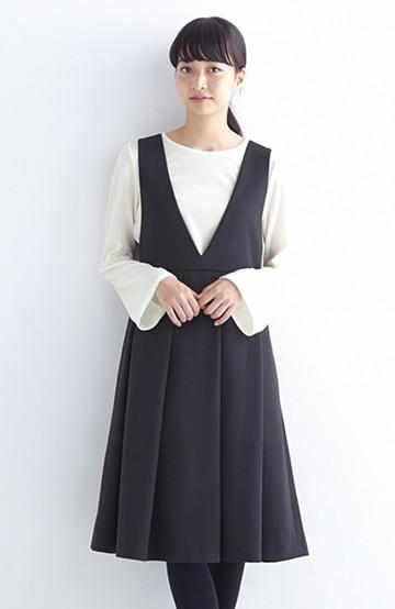nusy すっきりVネックがきれいなビッグプリーツジャンパースカート <ブラック>の商品写真
