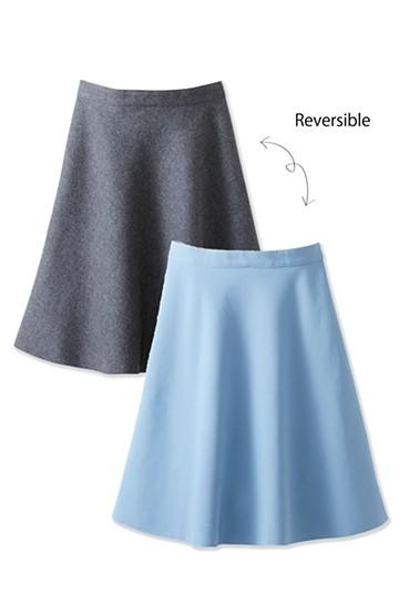 エムトロワ きれい色もあったかも楽しめるリバーシブルフレアースカート <杢グレー>の商品写真