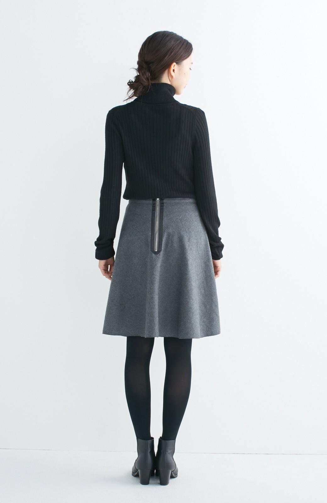 エムトロワ 【mer1月号掲載】きれい色もあったかも楽しめるリバーシブルフレアースカート <杢グレー>の商品写真21