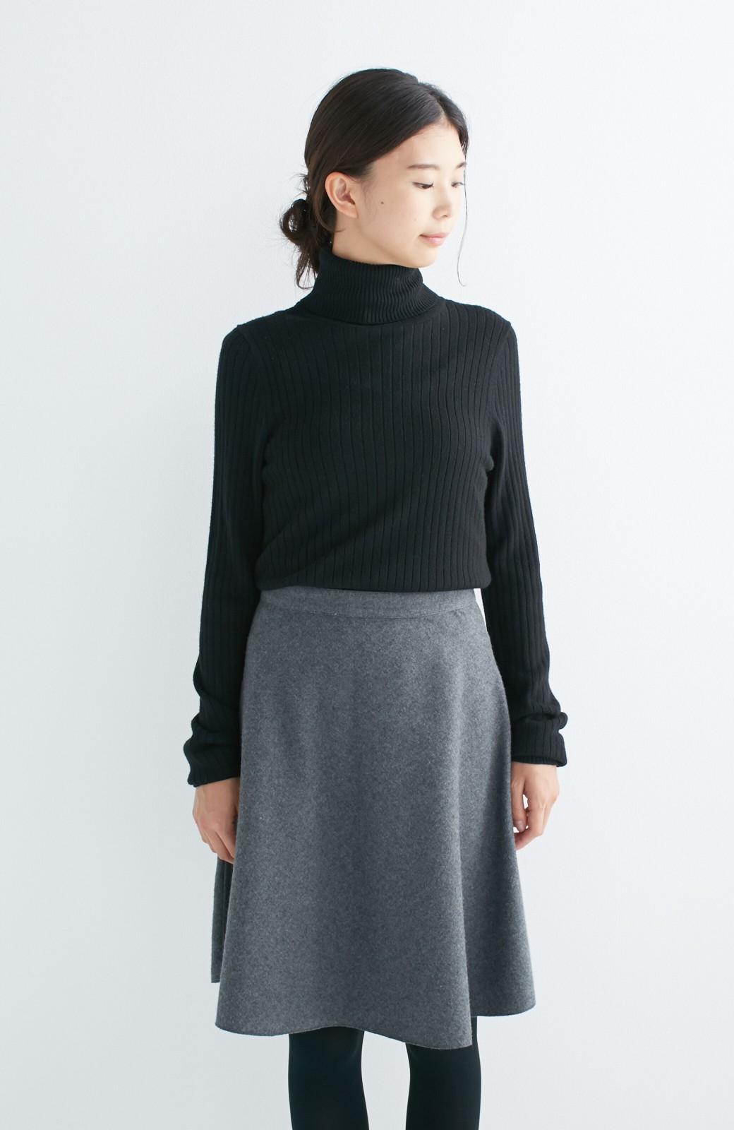 エムトロワ 【mer1月号掲載】きれい色もあったかも楽しめるリバーシブルフレアースカート <杢グレー>の商品写真22