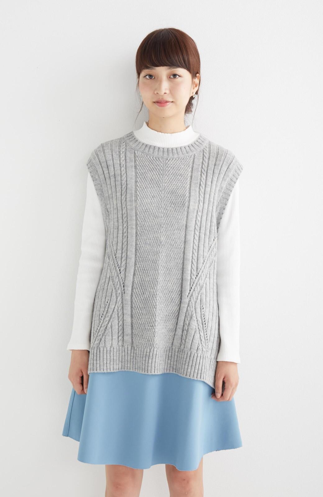 エムトロワ 【mer1月号掲載】きれい色もあったかも楽しめるリバーシブルフレアースカート <杢グレー>の商品写真24
