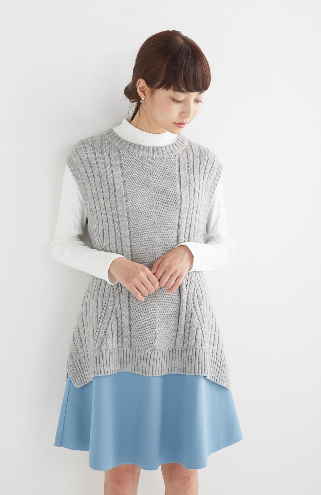 エムトロワ 【mer1月号掲載】きれい色もあったかも楽しめるリバーシブルフレアースカート <杢グレー>の商品写真25