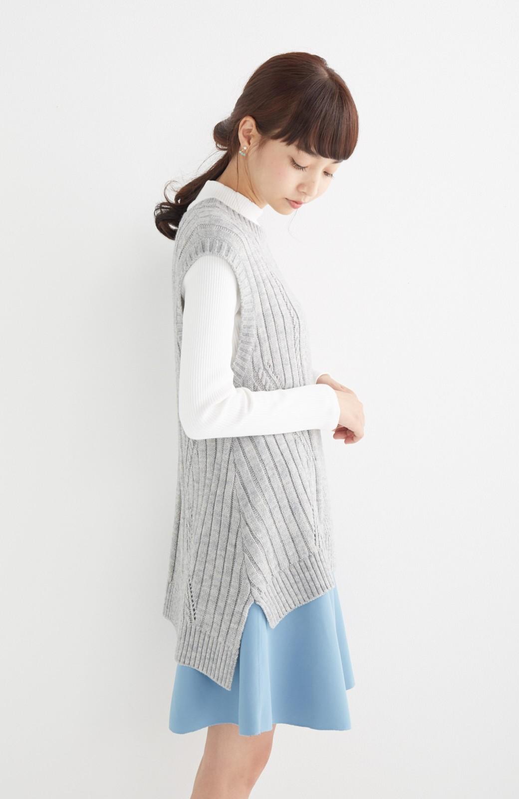 エムトロワ 【mer1月号掲載】きれい色もあったかも楽しめるリバーシブルフレアースカート <杢グレー>の商品写真27